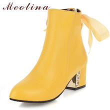 купить Meotina Autumn Ankle Boots Women PU Leather Ribbon Thick High Heel Short Boots Zipper Pointed Toe Shoes Female Winter Size 33-46 дешево