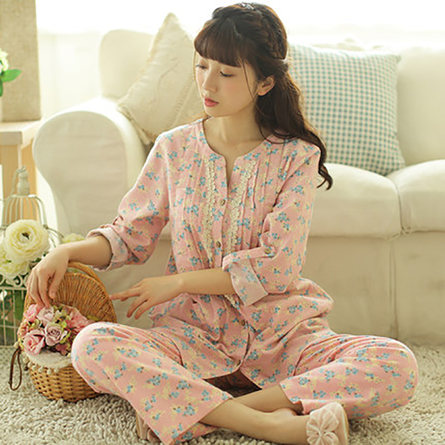 e2acada03d Casual Maternity Clothes Pregnancy Autumn Home Suit For Pregnant Women  Floral Soft Cotton Maternity Nightgown Nursing