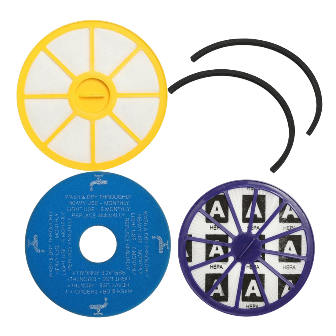 AIMA Pre Washable & Post Motor HEPA Vacuum Cleaner Filter & Seals Kit For DYSON DC14 Yellow+blue+purple