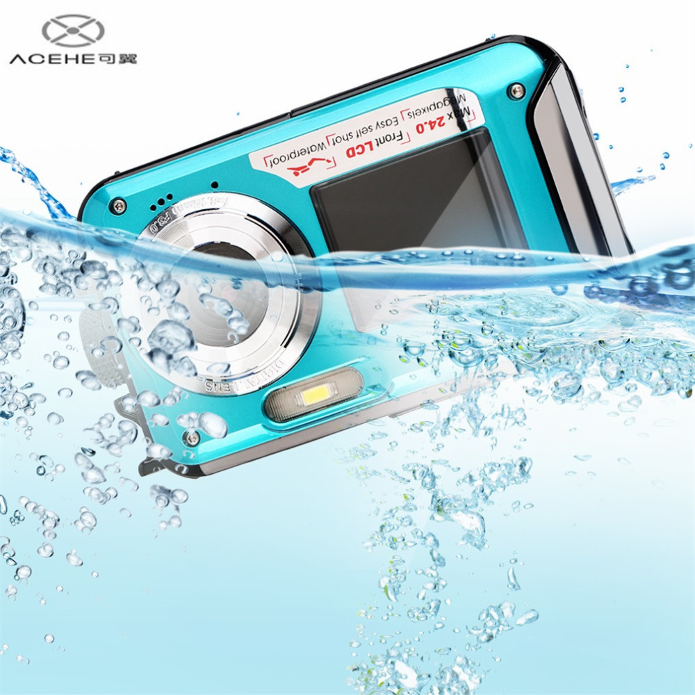 ACEHE High Quality 2.7inch TFT Digital Camera Waterproof 24MP MAX 1080P Double Screen 16x Digital Zoom Camcorder HOT in stock!!!