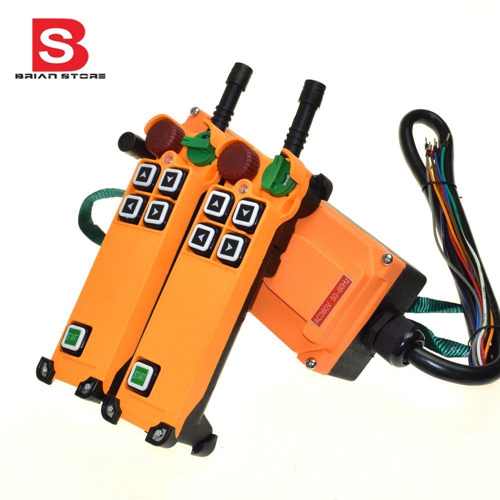 110VAC 4 Channel 1 Speed 2 transmitters Hoist Crane Truck Radio Remote Control System with E Stophs 4s 2