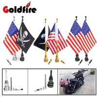 Motorcycle CNC Rear Luggage Rack Side Mount Flag Pole American USA Flag For Harley Bikes Bobber