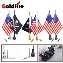 Мотоцикл с ЧПУ сзади Чемодан стойки с боковым креплением флагштока американский флаг США для Harley велосипеды Bobber Choppers пользовательские