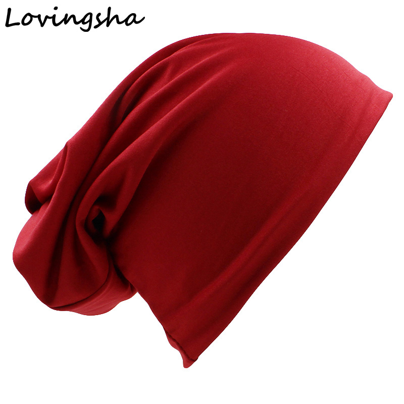 LOVINGSHA Brand Dual-use Hats For Women Hip-hop Solid Design Ladies hat   Skullies   And   Beanies   Men Autumn Winter Hat Scarf HT043