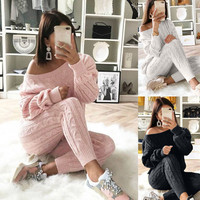 Autumn winter Knitted tracksuit off Shoulder sweatshirts Casual Suit Women clothing 2 Piece set Knit pant Sporting suit Female