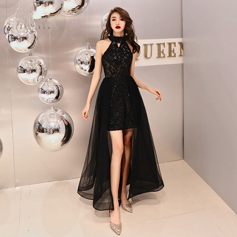 Evening     Dress   Bling Black Romantic Tiered Hem Formal   Dresses   Women Fashion Halter Zipper Long Party Gown