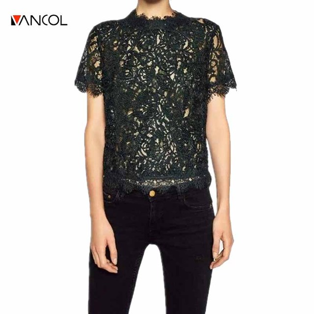 Vancol Black Green Red Mesh Tops Zipper Brand Designer Crop  Women Blousas and Shirts Female O Neck Floral Women Lace Top