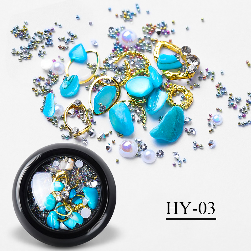 1 Box 3D Charm Gem Rhinestones Ocean Storm Irregular Stones Nail Crystal Glass Beads DIY Manicure Nail Art Decoration in Rhinestones Decorations from Beauty Health