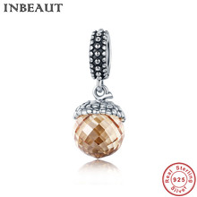 INBEAUT Women Necklace Brown Crystal Stone Pendant 925 Sterling Silver Pine Cone Charm Beads fit Trendy Bracelet Female Gift