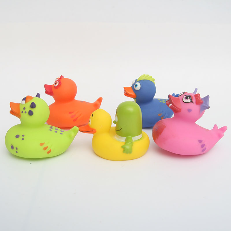 5 pièces jouet flottant cognitif enfant matériaux sûrs et non tioxiques quatre couleurs de canard dinosaure et canard créatif jaune - 3