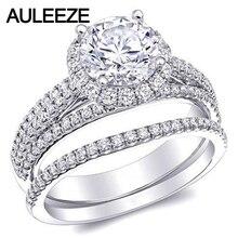 Forever Brilliant Halo Moissanites Wedding Bridal Set 1CT Lab Grown Diamond Triple Split Shank Ring 14K White Gold Diamond Rings