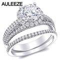 Siempre Brillante Halo Moissanites Boda Nupcial Conjunto $ number CT Lab Grown Diamante Triple División Vástago Anillo 14 K Oro Blanco Diamante anillos