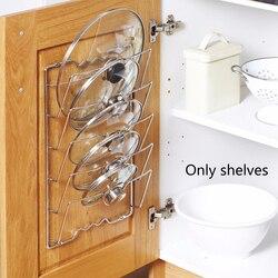 Anti-queda de metal secagem pan pot rack tampa resto suporte colher titular cozinha ferramenta 5 camada