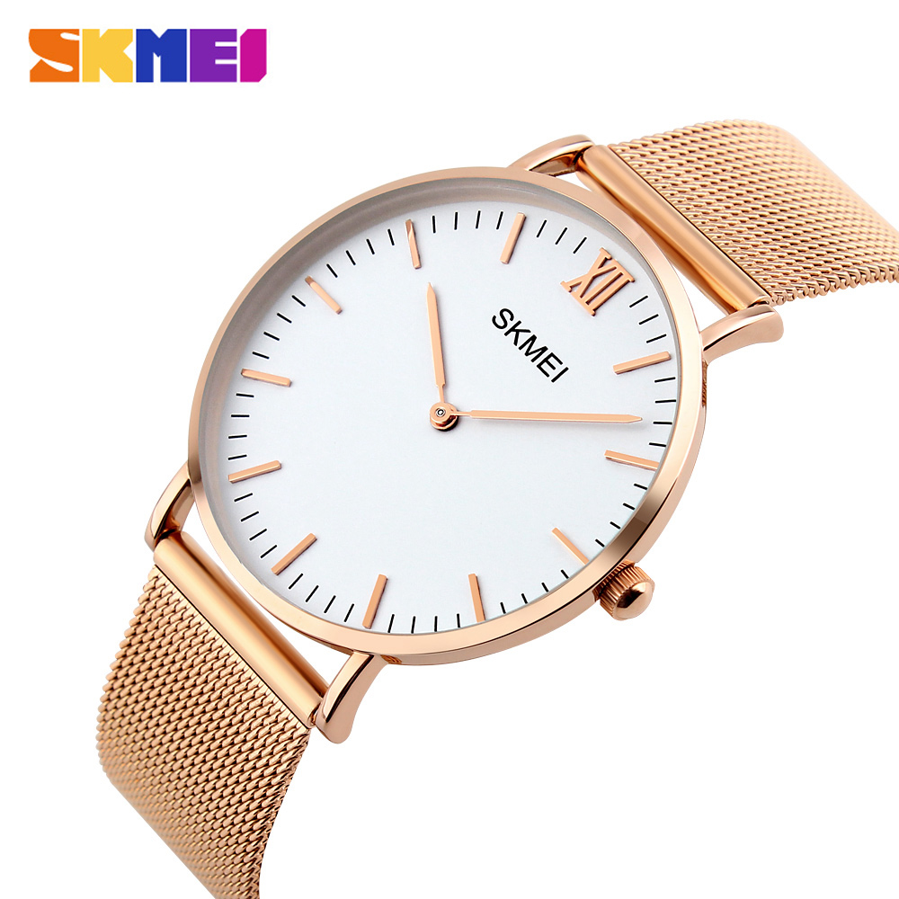 SKMEI Fashion Casual Women Watches Luxury Ladies Watch 3bar Waterproof Simple Thin Design Wristwatches 1181 Reloj Mujer
