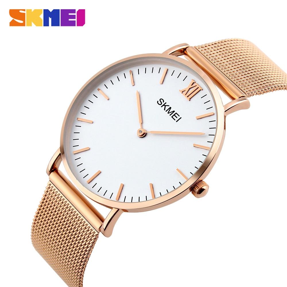 SKMEI Fashion Casual Women Watches Luxury Ladies Watch 3bar Waterproof Simple Thin Design Wristwatches 1181 Reloj Mujer