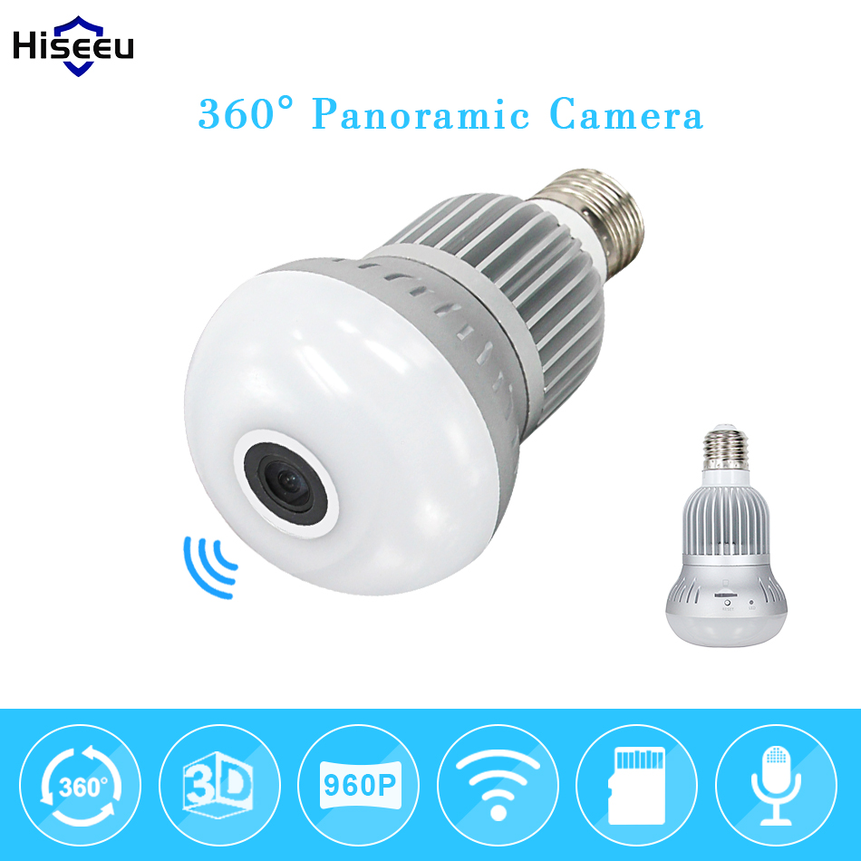 Фотография Wireless Bulb Light IP Camera Wi-fi FishEye 960P 360 degree Full View Mini CCTV Camera 1.3MP Home Security WiFi Camera Panoramic