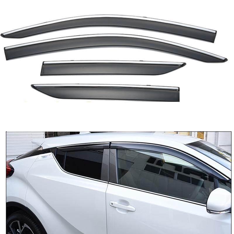 For Toyota C-HR CHR 2016 2017 ABS Plastic Window Visors Awnings Rain Sun Deflector Guard Vent Covers Protector 4Pcs Car Styling 4pcs window visor vent shade rain sun guard deflector awnings shelters covers for mitsubishi outlander 2013 2014 2015 2016 2018