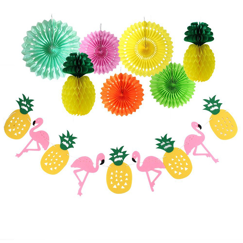 Summer Flamingo Banner Flag Pineapple Shape Honeycomb Paper Ball Colorful Hollow Paper Fan Event Party Decorations