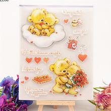 PANFELOU Little bear lovers Transparent Silicone Rubber Clear Stamps cartoon for Scrapbooking/DIY Christmas wedding album(China)