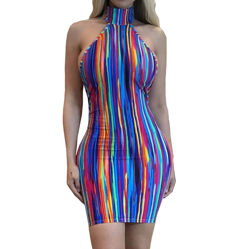 2018 Hot Sexy Sleeveless Sheer Sexy Halter Dresses Back Mini Dress Olive Green Striped Halter Mini Club Party Bandage Dress