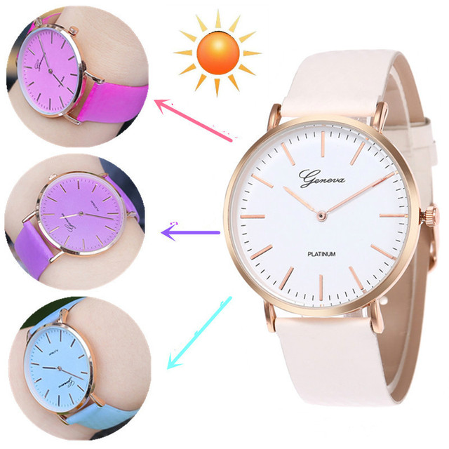 New Fashion Simple Style Temperature Change Color Women Watch Sun UV Color Chang