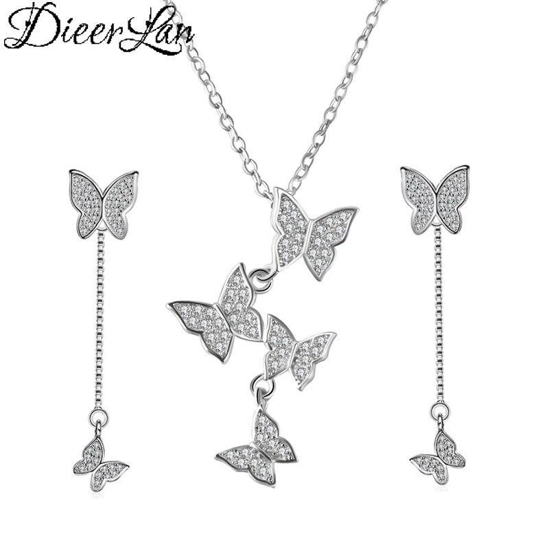 2019 Trendy Marke Hochzeit Braut Schmuck Sets 925 Sterling Silber Strass Schmetterling Tiere Halsketten Ohrringe Für Frauen 2019 Offiziell