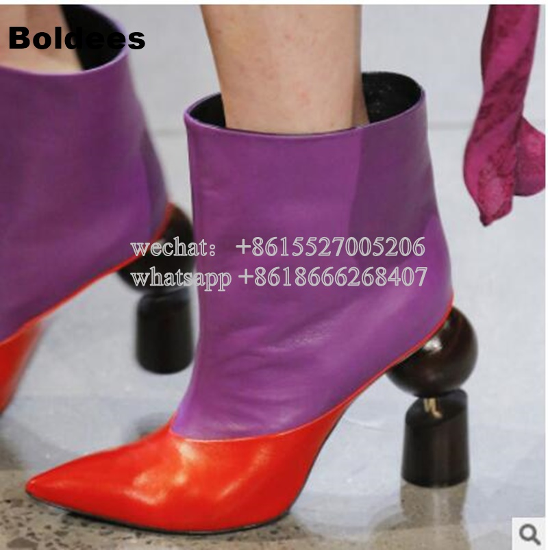 New Arrive 9cm Strange Heeled Winter Short Boots Women Pointed Toe Elegant Slip On Purple Ankle BootyNew Arrive 9cm Strange Heeled Winter Short Boots Women Pointed Toe Elegant Slip On Purple Ankle Booty