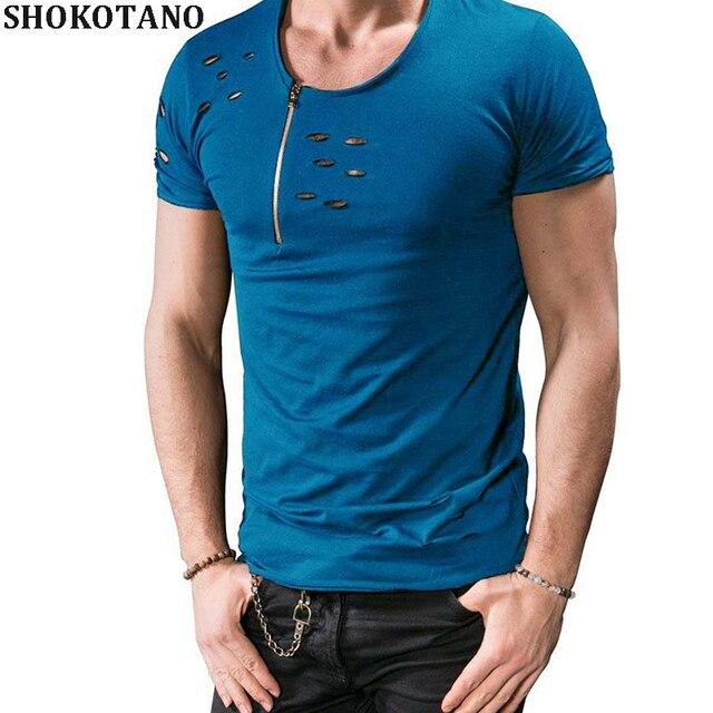 2895257b4 SHOKOTANO Men's O-Neck Bust Zipper T Shirt Slim Fit Solid Color Ripped Hole  T-Shirt For Man Hip Hop Hipster Streetwear Tops Tee