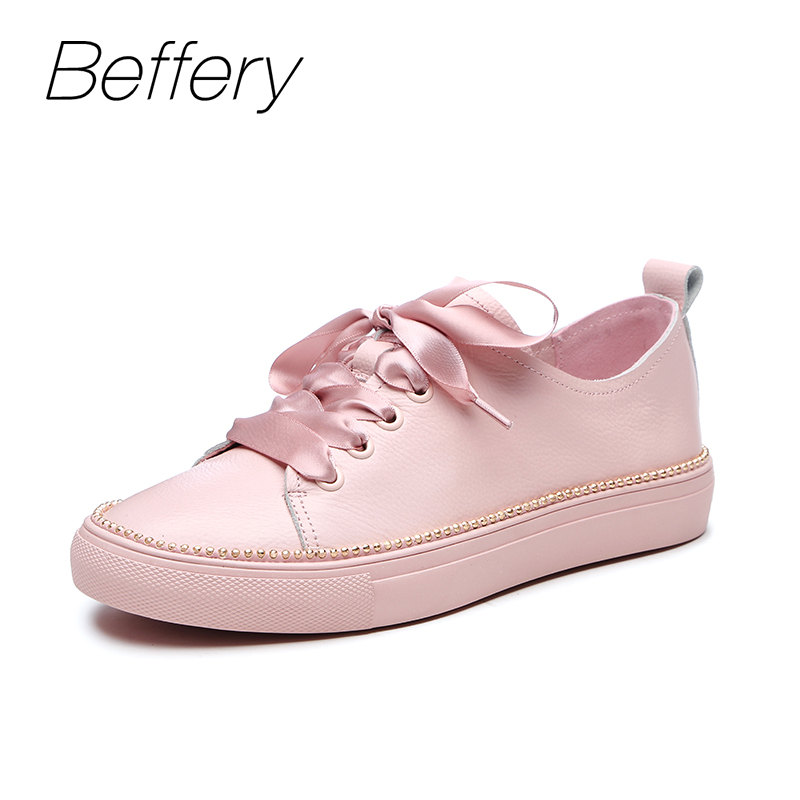Beffery Spring/Summer Genuine Leather Sneakers Women Flat Shoes Fashion Lace-up Casual Shoes Women Platform Shoes A1A8121-9 beffery 2018 new fashion sneakers women genuine leather lace up flat platform shoes for women fashion star casual shoes a1md701