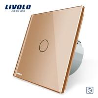 Free Shipping Livolo EU Standard Timer Switch VL C701T 15 30s Delay Golden Crystal Glass Panel