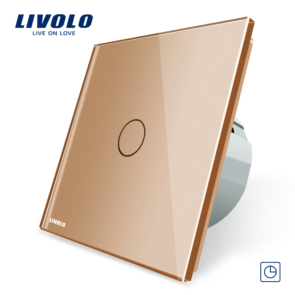 Livolo EU Standard Timer Switch,AC 220~250V,VL-C701T-13(30s delay), Golden Glass Panel, LED Indicator Wall Switch livolo eu standard touch timer switch ac 220 250v vl c701t 32 black crystal glass panel wall light 30s time delay switch