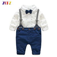 ZOFZ Baby Boy Clothes Cotton Long Sleeve White Printed Romper Soft Knit Denim Jumper For Baby