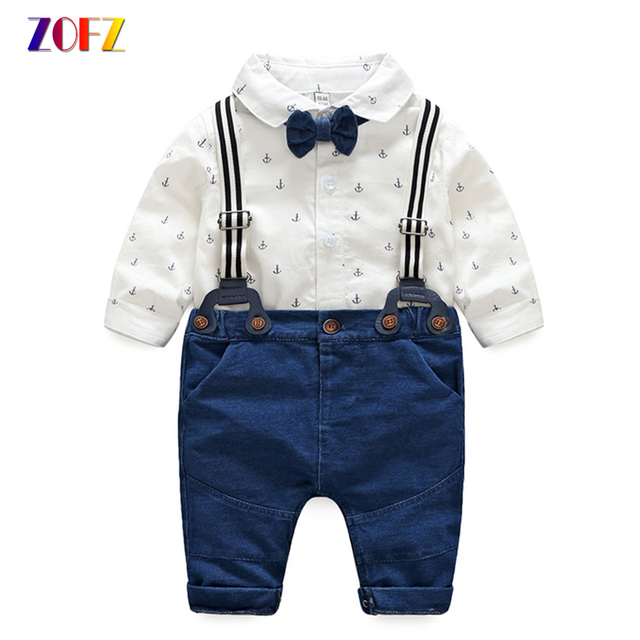 b0ce4a249c7c ZOFZ Baby Boy Clothes Cotton Long Sleeve White Printed Romper+Soft ...