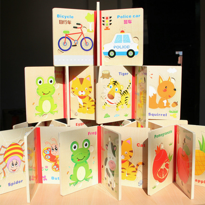 Ingyenes szállítás gyermek fa puzzle könyv játék, gyerekek oktatási rejtvények Early Head Start képzés puzzle játék