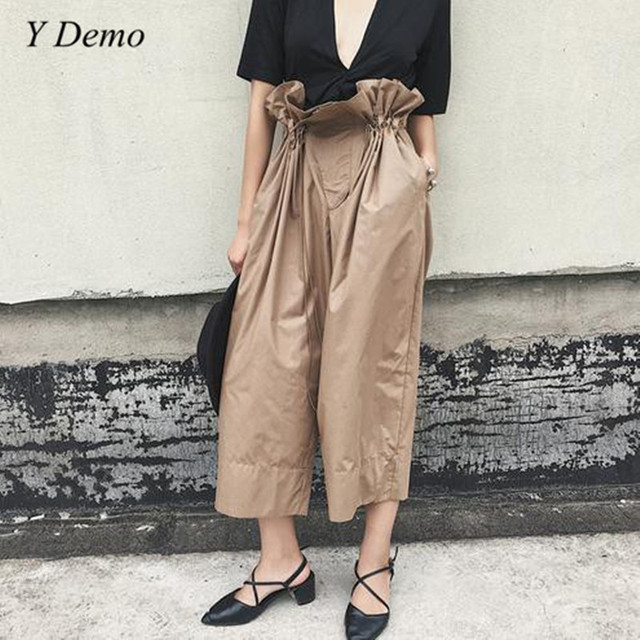 ed7e0fe862081 Summer New Women s Draw String Waist Pants High Waist Thin Wide-legged Pants  Paper Bag