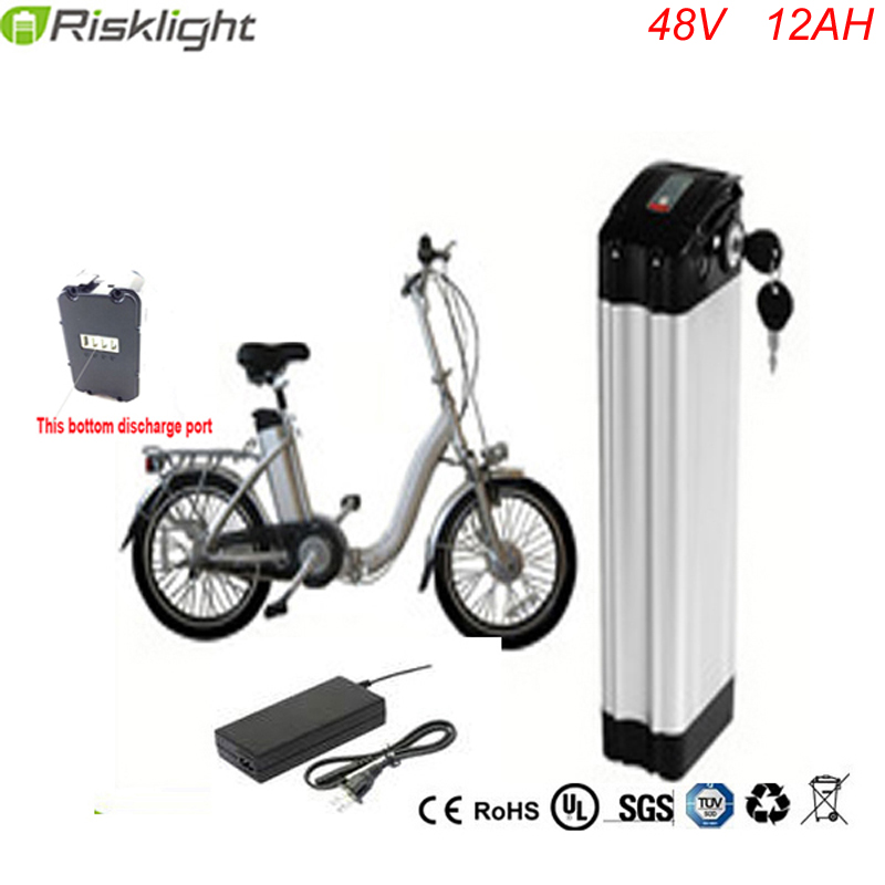 цена на 48V 12Ah Silver Fish Lithium Battery for 48V 750W 500W Ebikes Electric Scooters with 54.6V 2A Charger BMS Discharge on Bottom