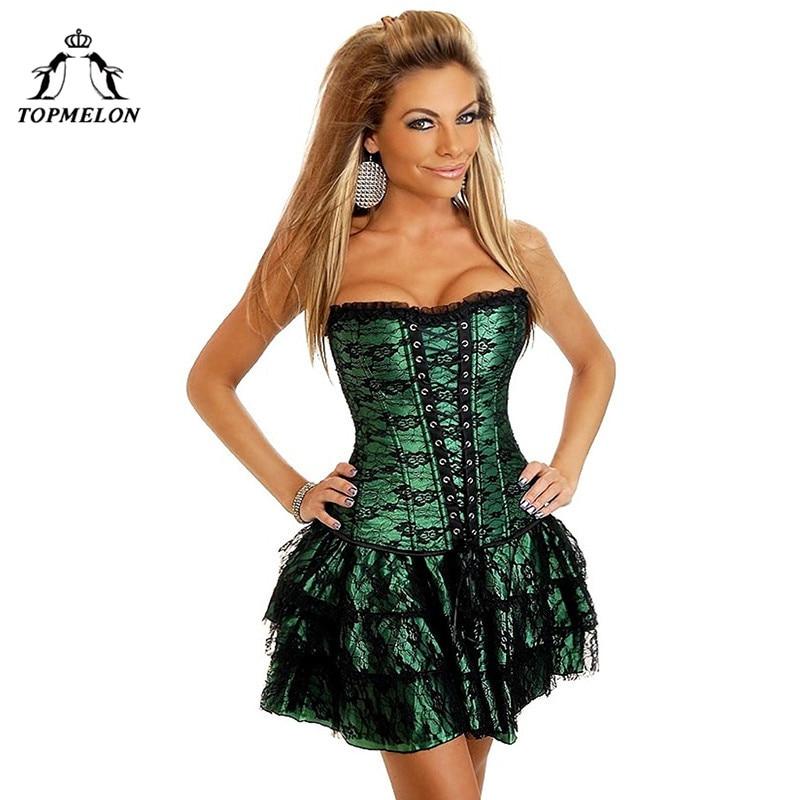 TOPMELON Corset Dress Steampunk Bustier Gothic Corselet Sexy Corset Women Lace Ruffles Shows Party Club Lace Up Short Dress