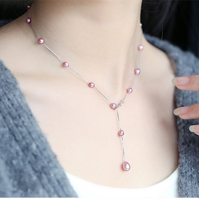 2018 spring and summer  925 Sterling silver necklace natural pearl women necklace  A necklace four kinds of wearing methods