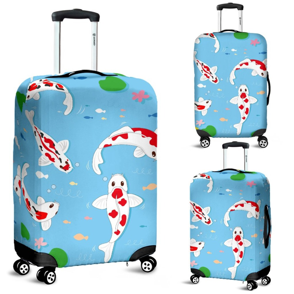 Coloranimal Travel Accessories Elastic Luggage Protective Cover Cute Koi Fish Dust Thick Suitcase Covers Bag Suit For 18-30 Inch