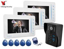 """Yobangsecurity 7 """"дюймов проводной Цвет видео-телефон двери Дверные звонки домофон безопасности Камера колокол Системы комплект с RFID брелков"""
