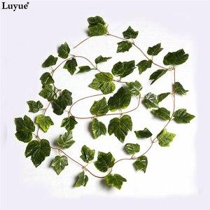 Image 4 - Luyue 12 sztuk sztuczne rośliny kwiat jedwabiu liści winogron girlandy do zawieszenia symulacja Faux winorośli dekoracje ślubne dla domu