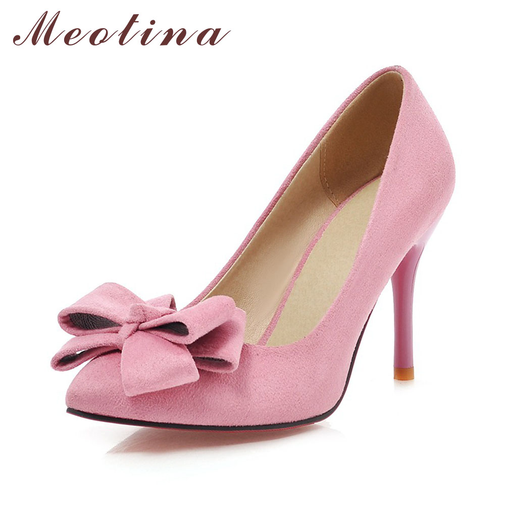 Meotina Siste Sko Kvinner Pumper Spring Pointed Toe Basic Party Tynn Høye Hæler Bow Ladies Shoes Pink Black Large Size 9 10 43