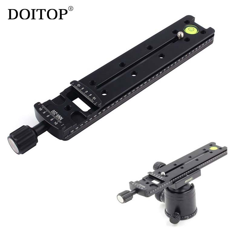 DOITOP Quick Release Plate Tripod Long Clamping Plate 200mm Nodal Slide Rail Tripod Clamp Adapter Photography Accessories