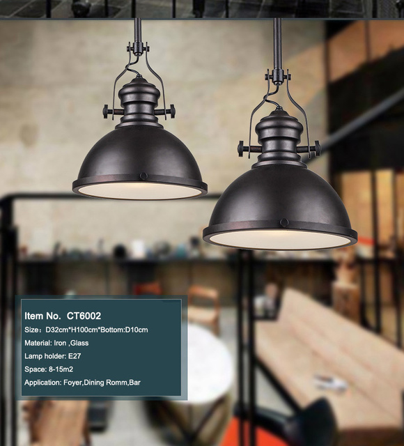 Dia*32cm American industrial loft Vintage pendant lights for dining room iron black painted E27 Edison bulb home lamp