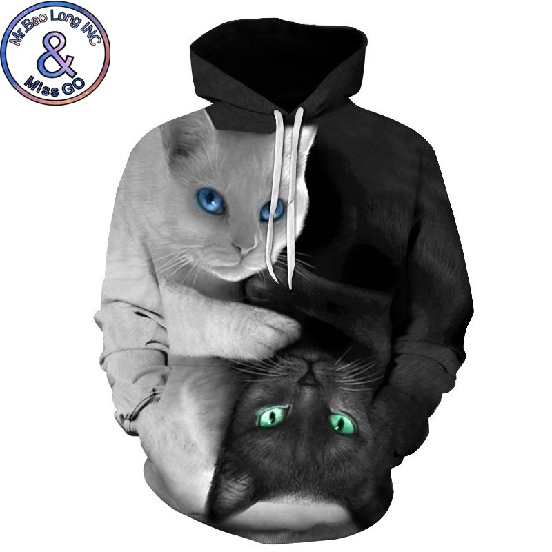 2018 3D Hoodies Men Women Hoodie Sweatshirts Lover Cat 3D Print Hooded Sweatshirt Hip Hop Streetwear Hoody Pullovers Sweat Homme