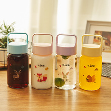 JOUDOO 300ML Creative Glass Bottle Of Water Heat Resistant Cartoon Drinkware Cup Outdoor Tour Student Water Bottles 35 stylish 300ml cartoon shaun the sheep shape silicone cup set glass water cup