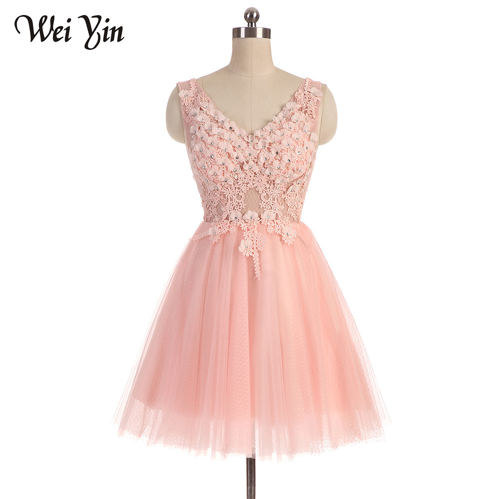 WeiYin Sexy   Cocktail     Dresses   Pink/White/Gray Color V Neck FLowers Crystal Prom Party   Dress