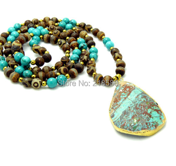 Ocean Jaspers Pendant Necklace Bohemian Beads Jewelry Turquoises Howlite Beads and Agates Diz Beads Necklace N15051403