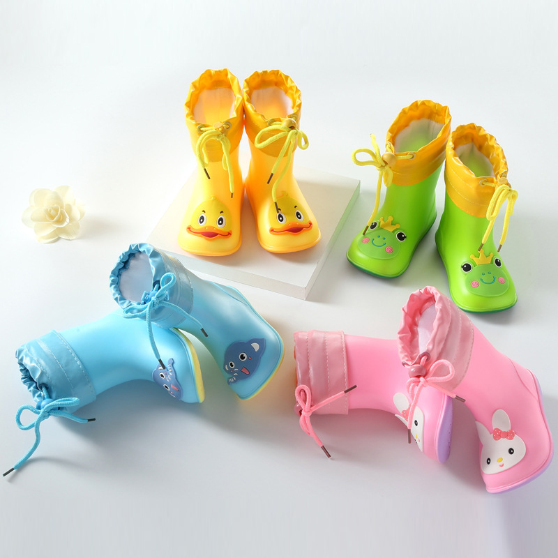 Осенне-зимние детские резиновые сапоги теплые плюшевые водонепроницаемые детские непромокаемые сапоги для мальчиков и девочек детские ре...