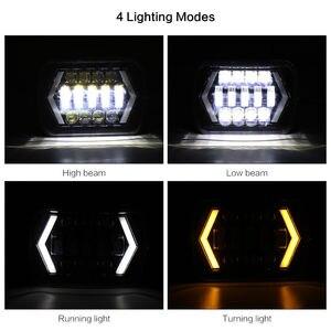 Image 2 - 90W 7X6 5X7 LED Headlight Arrows White DRL Amber Turn Signal For Jeep Wrangler YJ Cherokee XJ Trucks H4 LED Square Headlights